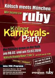 """Im Ruby Danceclub heißt es 2018 wieder """"Kölsch meets München"""" bei der besten Kölner Karnevals Party 2018, Donnerstag den08.02.2018 und Faschingsdienstag 13.02.2018"""